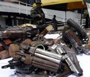 Some of the 2,220 weapons confiscated during the year in Cali, Colombia